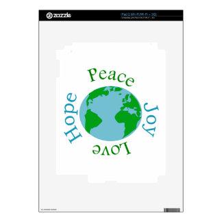 Esperanza del amor de la alegría de la paz skin para el iPad 2