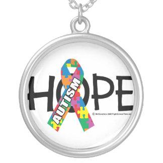 Esperanza del autismo colgante redondo