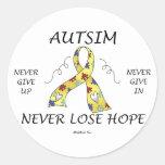 Esperanza del autismo etiquetas redondas