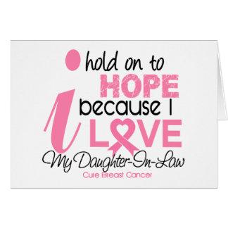 Esperanza del cáncer de pecho de mi nuera tarjeta de felicitación