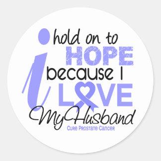 Esperanza del cáncer de próstata de mi marido pegatina redonda