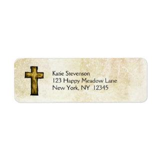 Esperanza e inspiración cruzadas de madera de etiqueta de remite