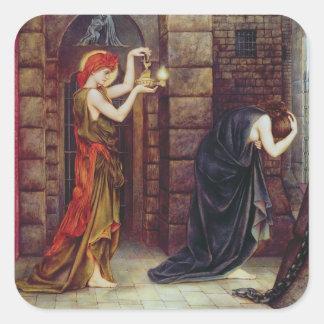 Esperanza en la prisión de la desesperación pegatina cuadrada