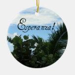 Esperanza - esperanza adorno navideño redondo de cerámica