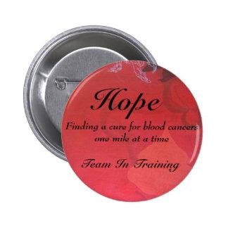 esperanza, esperanza, equipo en el entrenamiento,  pin redondo de 2 pulgadas
