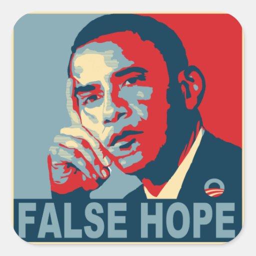 Esperanza falsa Obama Pegatinas Cuadradases
