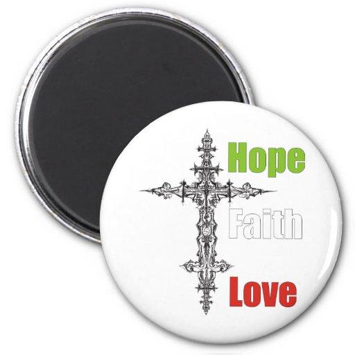 Esperanza, fe, amor imanes para frigoríficos