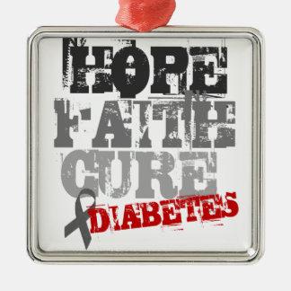 Esperanza. Fe. Curación. Diabetes Adorno Navideño Cuadrado De Metal