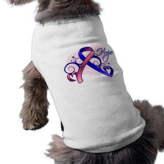 Esperanza floral de la cinta - cáncer de pecho mas playera sin mangas para perro