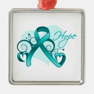 Esperanza floral de la cinta - cáncer ovárico adorno navideño cuadrado de metal