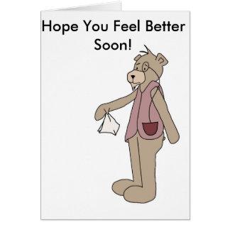 Esperanza que usted siente mejor pronto tarjeta de felicitación