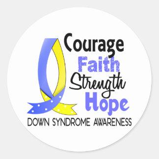Esperanza Síndrome de Down de la fuerza de la fe Pegatina Redonda