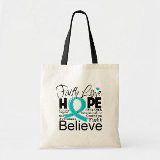 Esperanza tipográfica del amor de la fe del cáncer bolsas