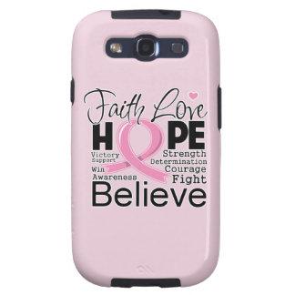 Esperanza tipográfica del amor de la fe del cáncer samsung galaxy SIII funda