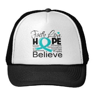 Esperanza tipográfica del amor de la fe del cáncer gorras