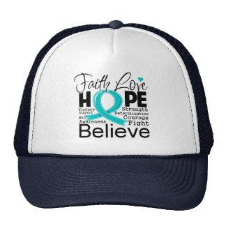 Esperanza tipográfica del amor de la fe del cáncer gorros