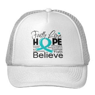 Esperanza tipográfica del amor de la fe del cáncer gorras de camionero