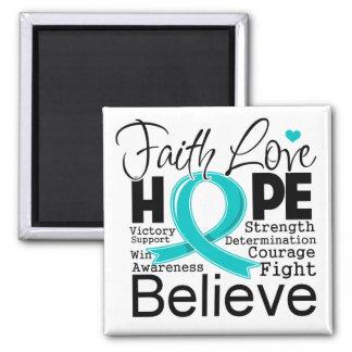 Esperanza tipográfica del amor de la fe del cáncer imán cuadrado