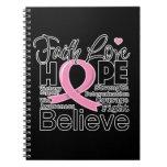 Esperanza tipográfica del amor de la fe del cáncer libreta