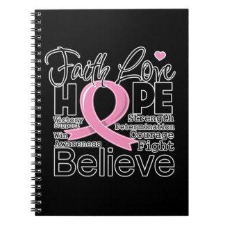Esperanza tipográfica del amor de la fe del cáncer libreta espiral