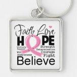Esperanza tipográfica del amor de la fe del cáncer llaveros personalizados