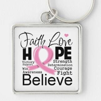 Esperanza tipográfica del amor de la fe del cáncer llavero cuadrado plateado