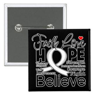 Esperanza tipográfica del amor de la fe del cáncer pins