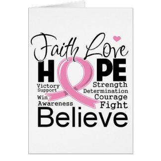 Esperanza tipográfica del amor de la fe del cáncer tarjetas