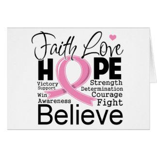 Esperanza tipográfica del amor de la fe del cáncer felicitaciones