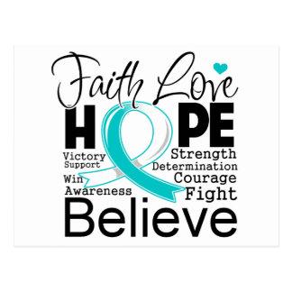 Esperanza tipográfica del amor de la fe del cáncer tarjeta postal