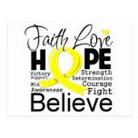 Esperanza tipográfica del amor de la fe del cáncer tarjetas postales