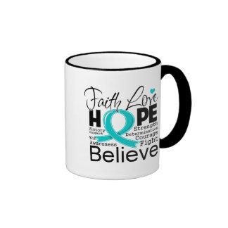 Esperanza tipográfica del amor de la fe del cáncer tazas