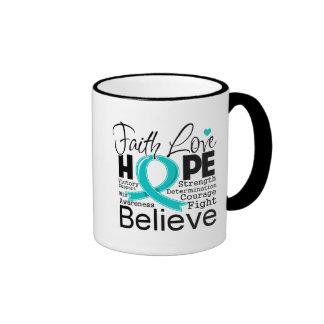 Esperanza tipográfica del amor de la fe del cáncer taza