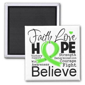 Esperanza tipográfica del amor de la fe del linfom imán cuadrado