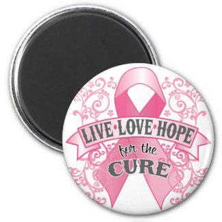 Esperanza viva del amor de la curación imán redondo 5 cm