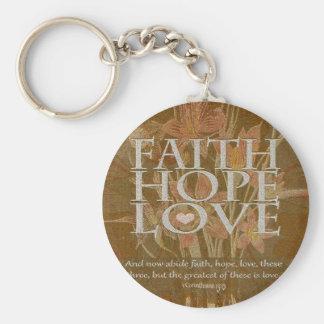 Esperanza y amor de la fe llaveros personalizados