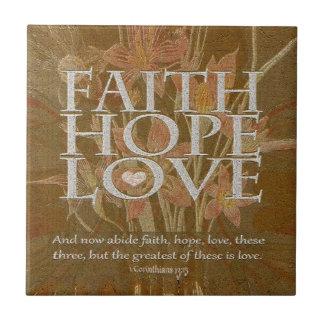 Esperanza y amor de la fe tejas