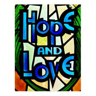 Esperanza y amor tarjeta postal