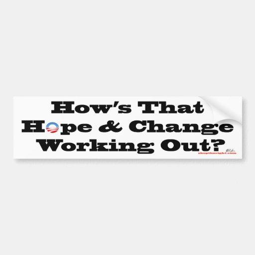 Esperanza y cambio Bumpersticker Pegatina De Parachoque