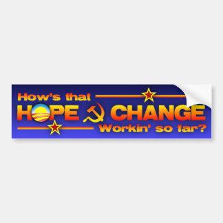 ¿Esperanza y cambio? Etiqueta De Parachoque