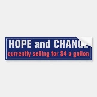 Esperanza y cambio para la pegatina para el pegatina para auto