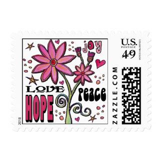 Esperanza y flores del amor de la paz timbres postales