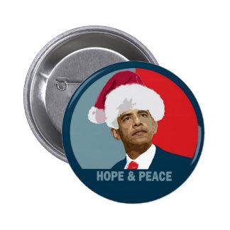 Esperanza y paz de Obama Pin Redondo De 2 Pulgadas