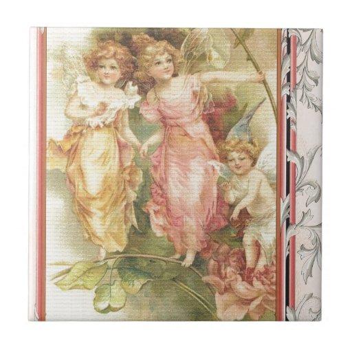 Esperanzado - ángeles y flores azulejos ceramicos