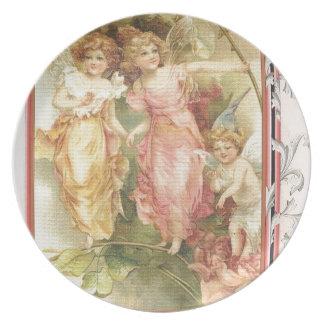 Esperanzado - ángeles y flores platos de comidas
