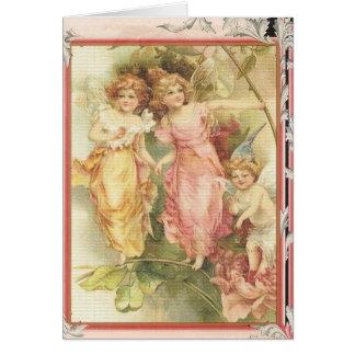 Esperanzado - ángeles y flores tarjeta de felicitación
