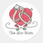 Esperas verdaderas del amor pegatina redonda