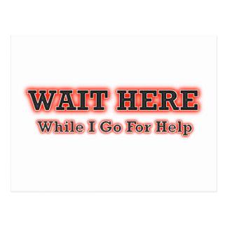 Espere aquí mientras que voy para la ayuda tarjeta postal