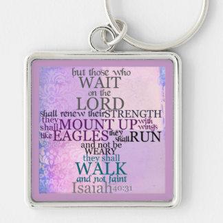 Espere en el llavero del 40:31 de señor Scripture