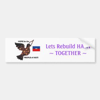 Espere la población de Haití - bandera Pegatina De Parachoque